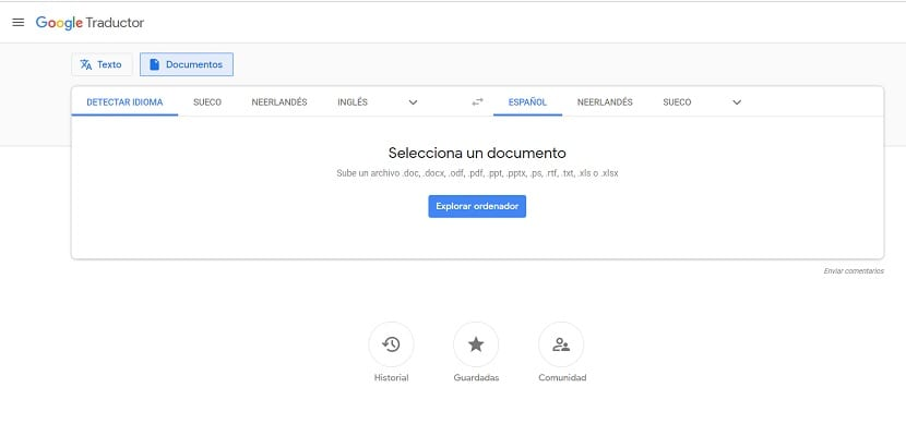 Google translate documentos