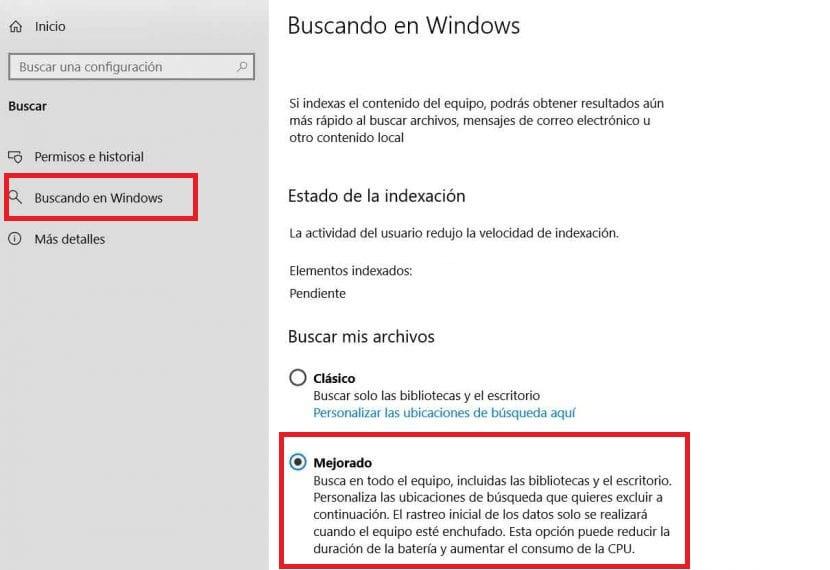 Busqueda mejorada Windows 10
