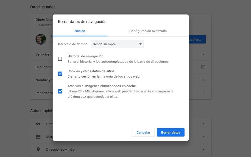 Chrome datos de navegacion