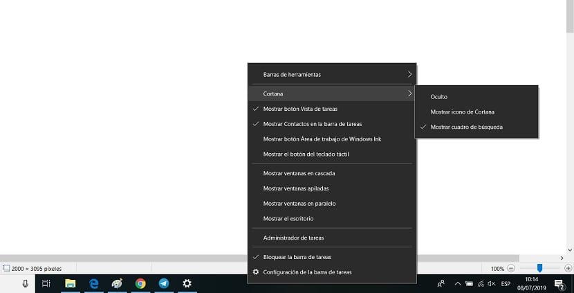 Cortana desactivar boton