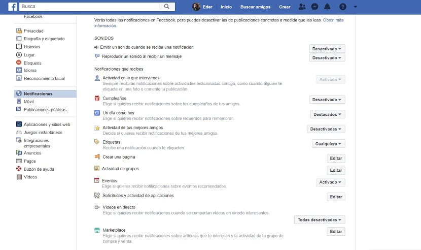 Facebook editar notificaciones