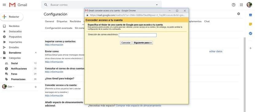 Gmail correo delegado