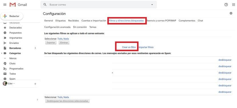 Gmail filtro