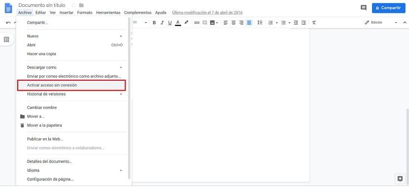 Google Docs sin conexion