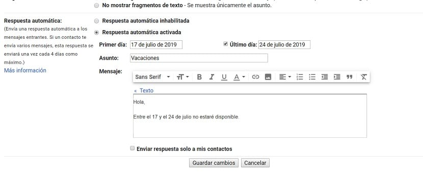 Respuestas automáticas Gmail