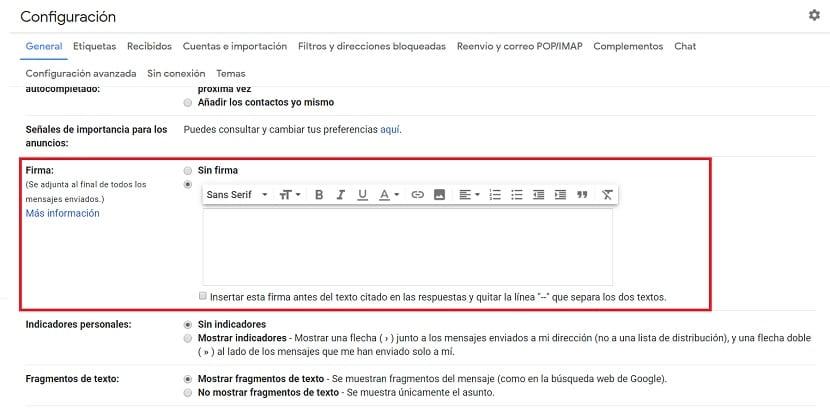 Activar firma Gmail