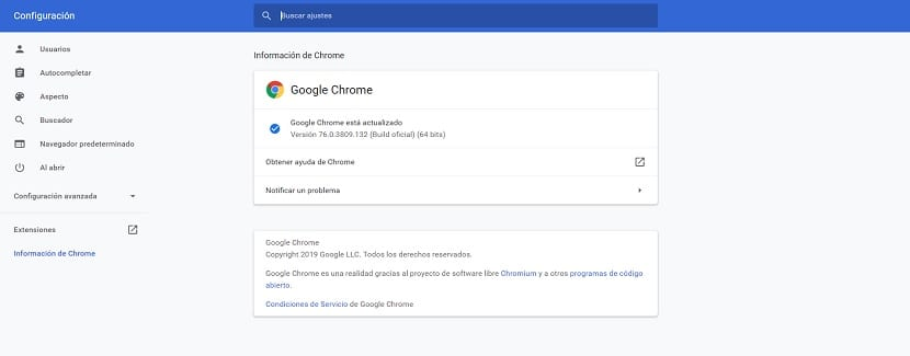 Google Chrome actualizar