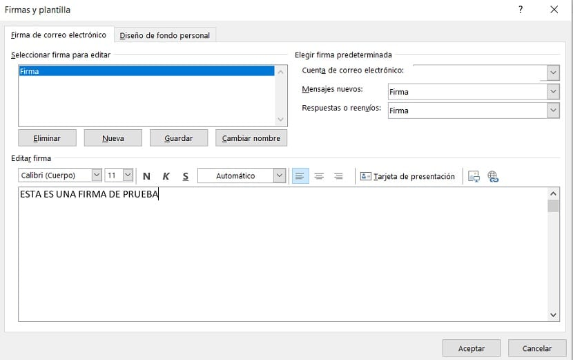 Outlook crear firma
