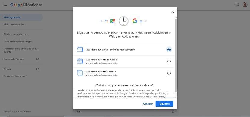 Google actividad cuenta eliminar datos