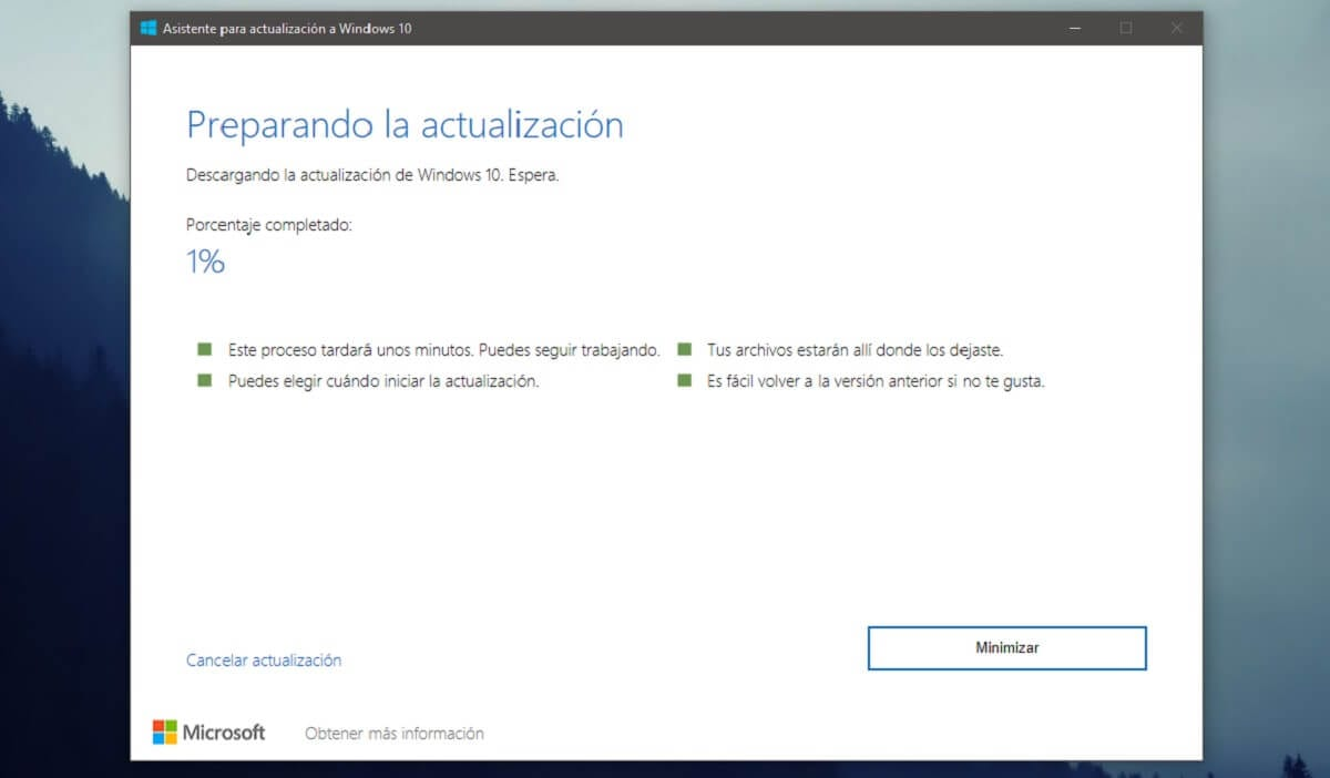 Asistente para actualización a Windows 10