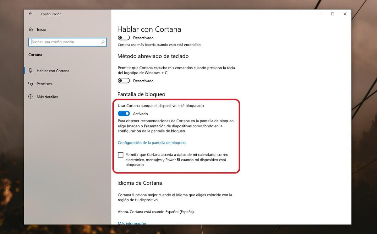 Desactivar Cortana en la pantalla de bloqueo de Windows 10