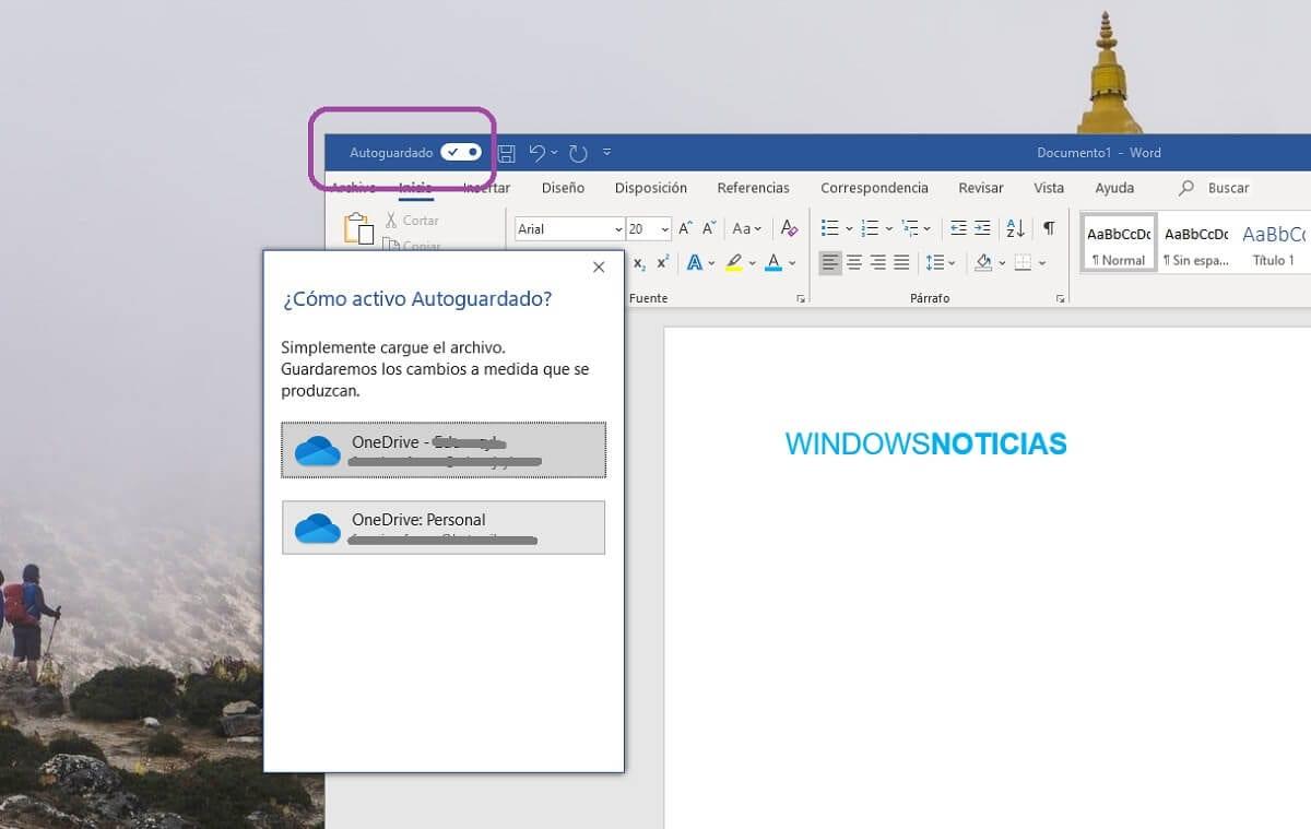 Activar el autoguardado de documentos en la nube en Microsoft Word