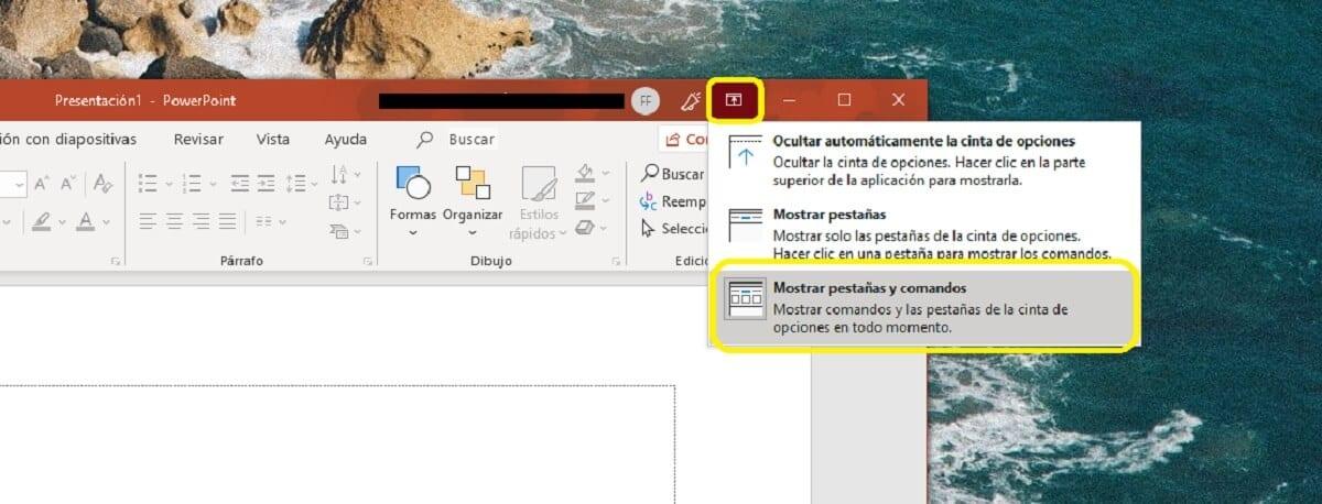 Fijar la cinta de opciones de Microsoft PowerPoint en la parte superior