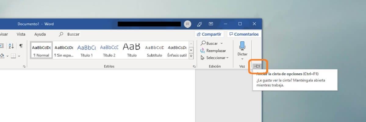 Anclar la cinta de opciones en Microsoft Word