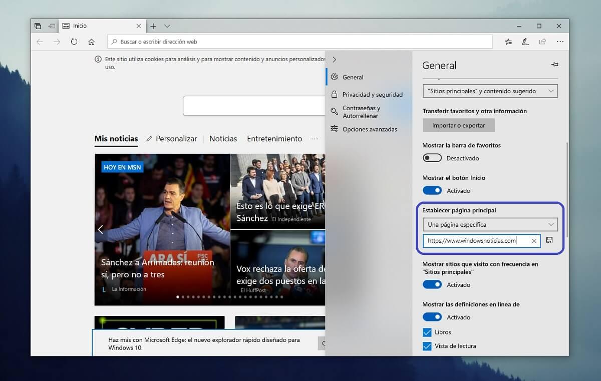 Cambiar la página de inicio de Microsoft Edge