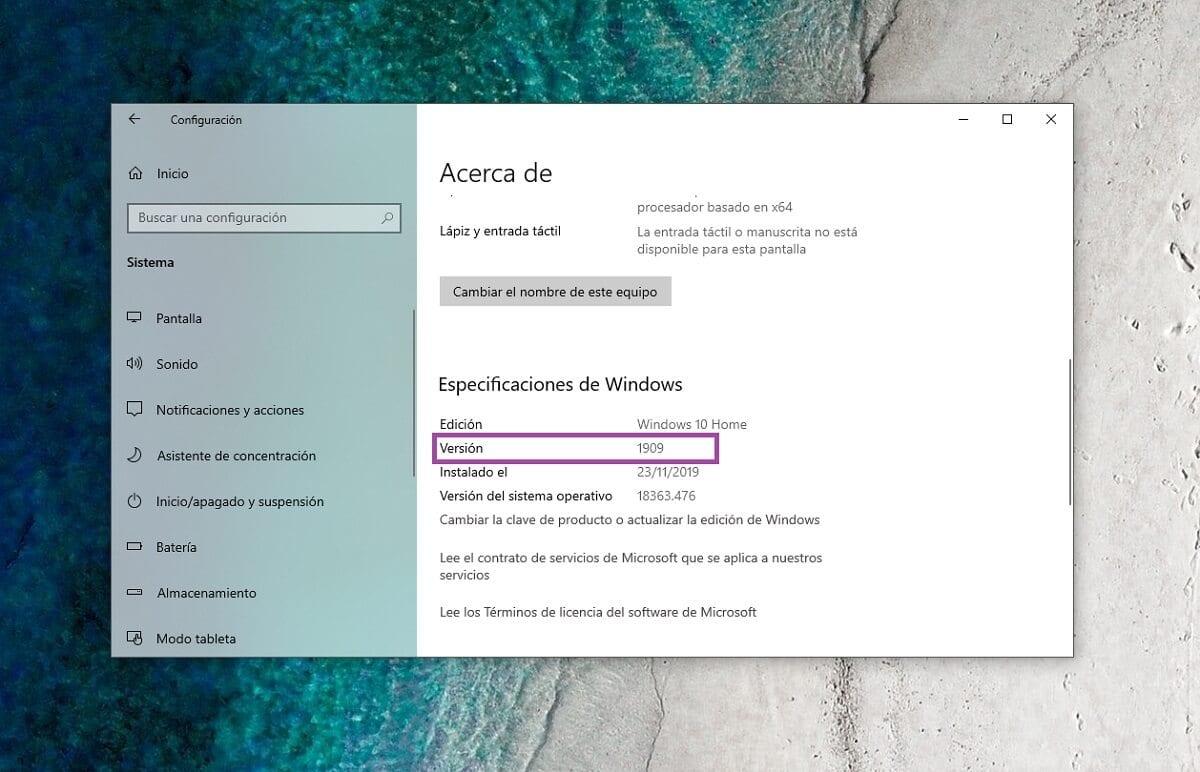 Versión de compilación en Windows 10