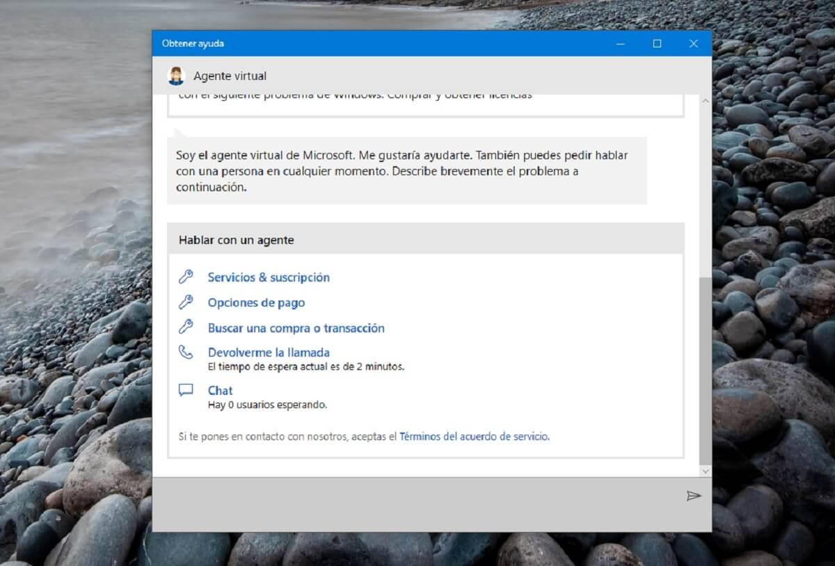 Contacta con el equipo de soporte técnico de Microsoft España por chat