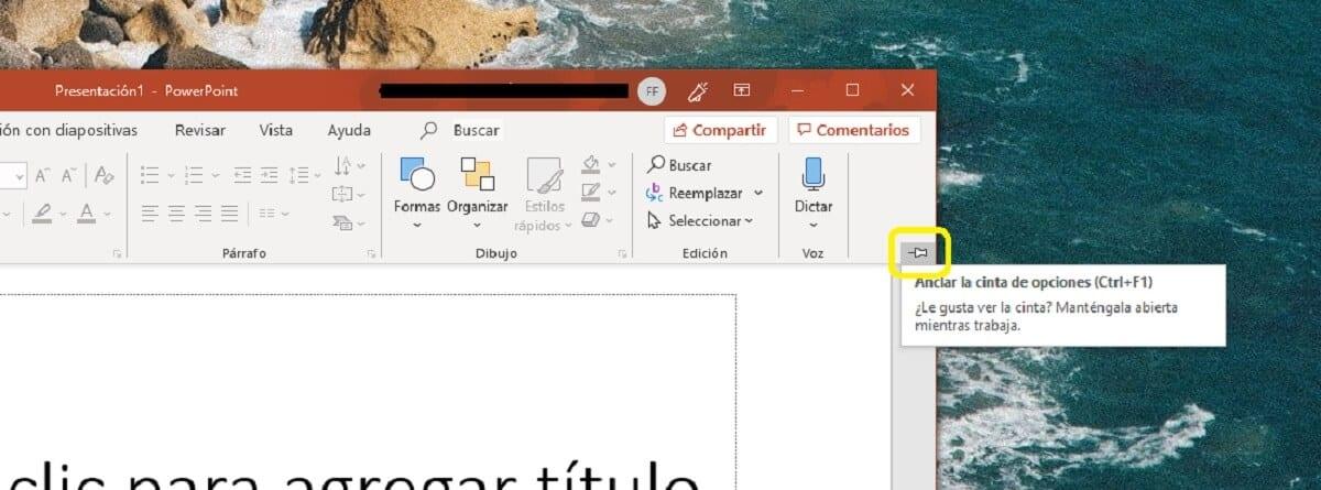 Anclar la barra de herramientas de Microsoft PowerPoint
