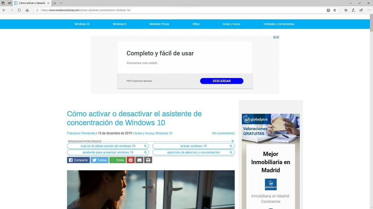 Microsoft Edge a pantalla completa en Windows 10