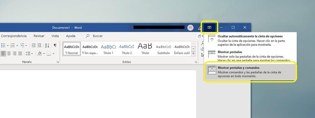 Volver a mostrar la barra de herramientas en Microsoft Word