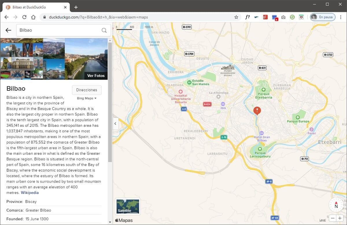 Apple Maps en el buscador DuckDuckGo