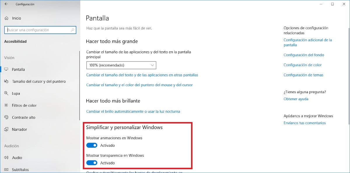 Desactivar animaciones Windows 10