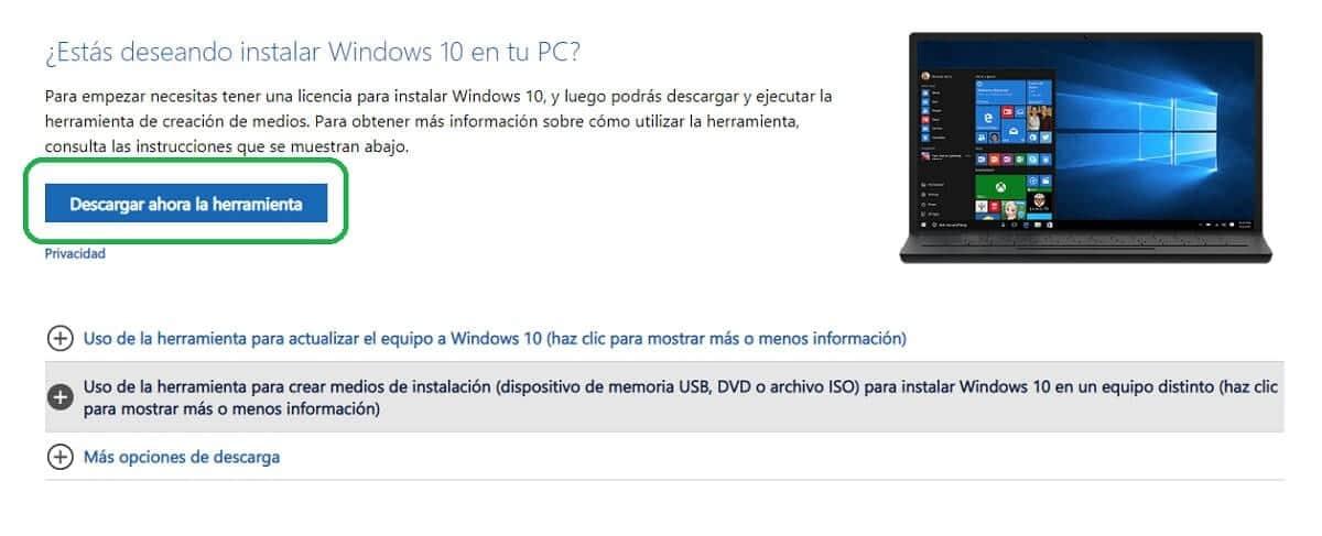 """Descargar la """"Herramienta de creación de medios"""" de Windows 10"""
