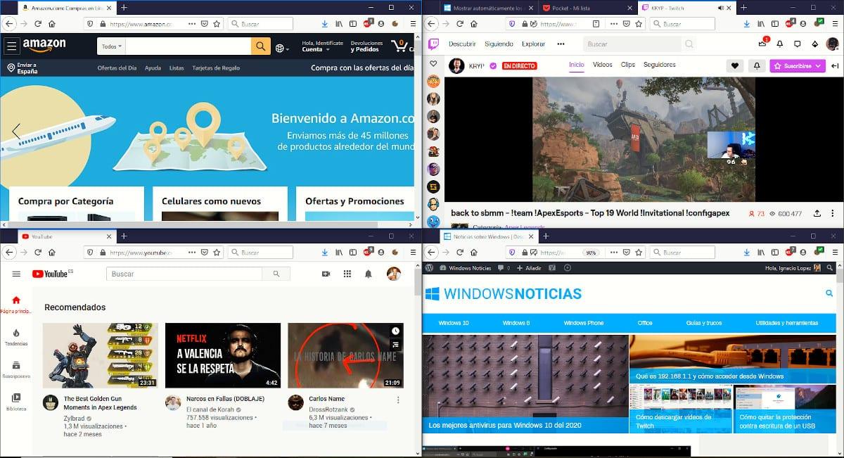 Dividir la pantalla con 4 aplicaciones