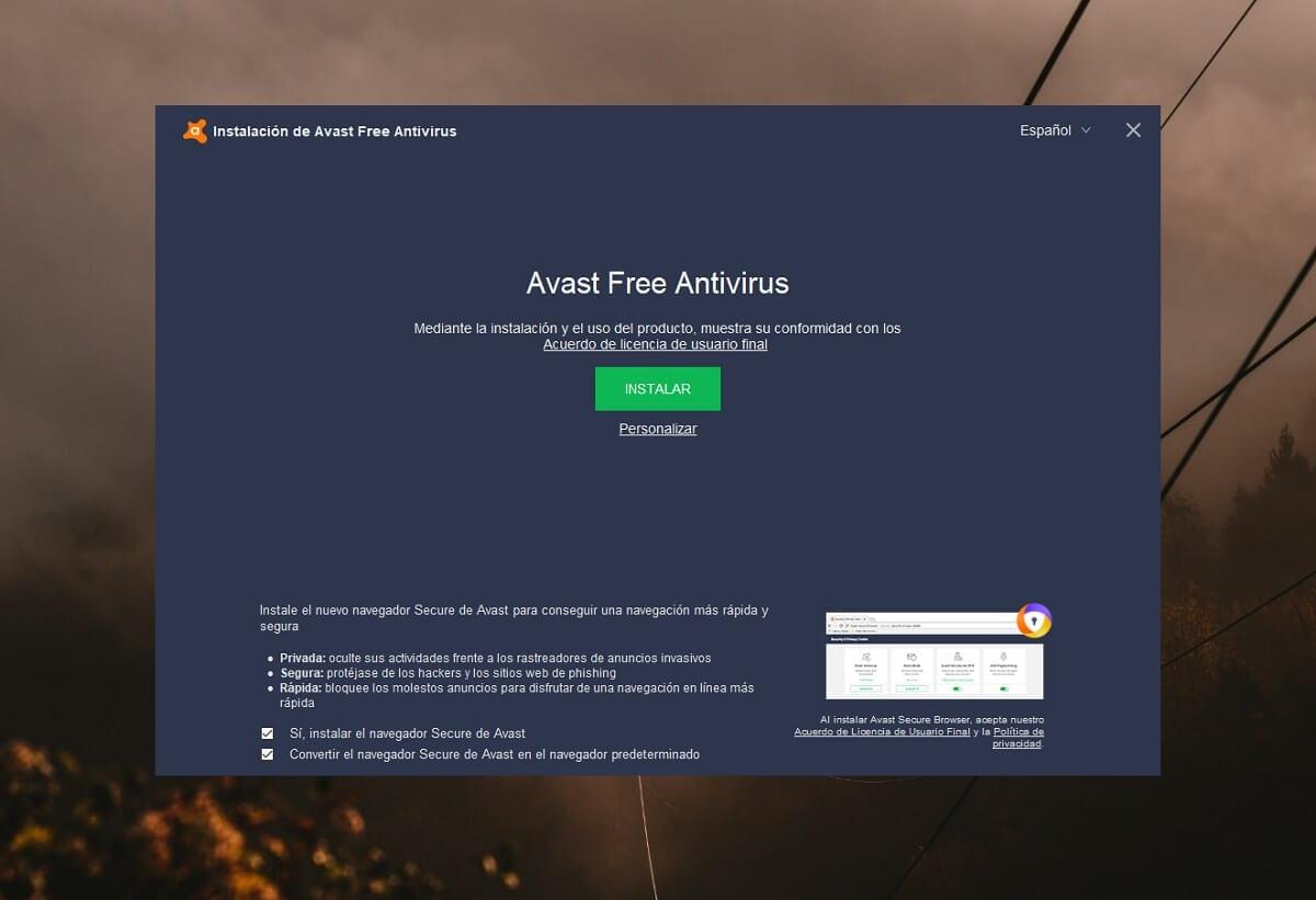 Instalar el antivirus Avast Free Antivirus gratis para Windows
