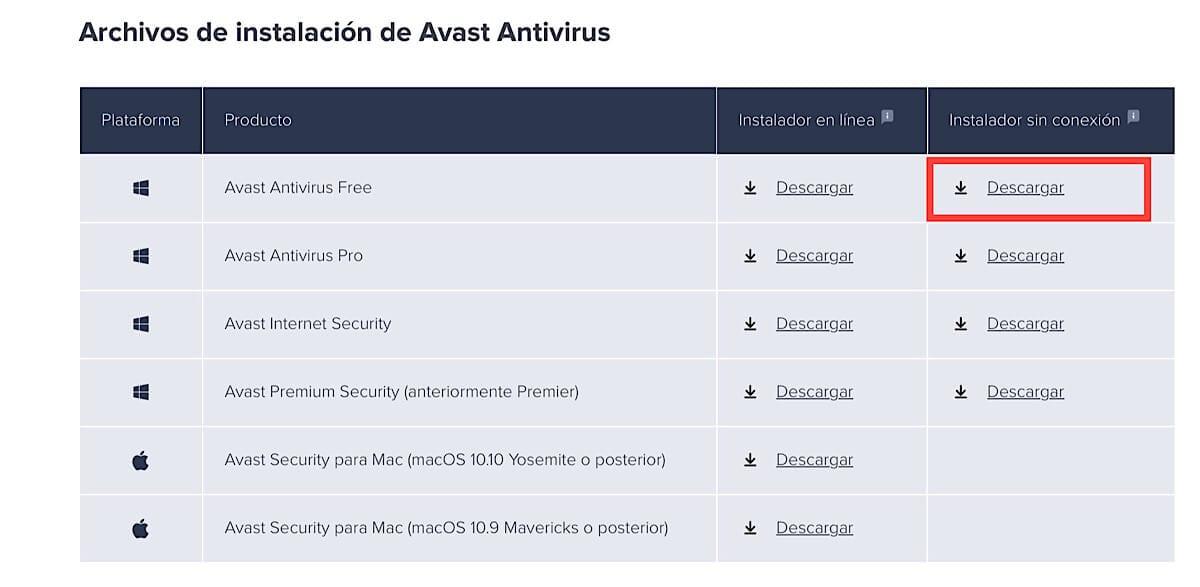 Instalar Avast Free Antivirus sin conexión a Internet