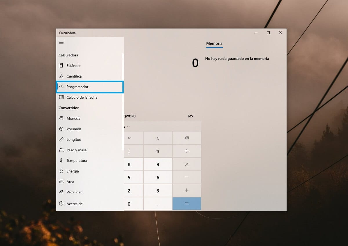 Calcular valores en código binario con la calculadora de Windows 10