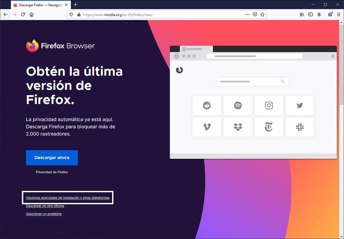 Descargar el instalador sin conexión de Mozilla Firefox para Windows