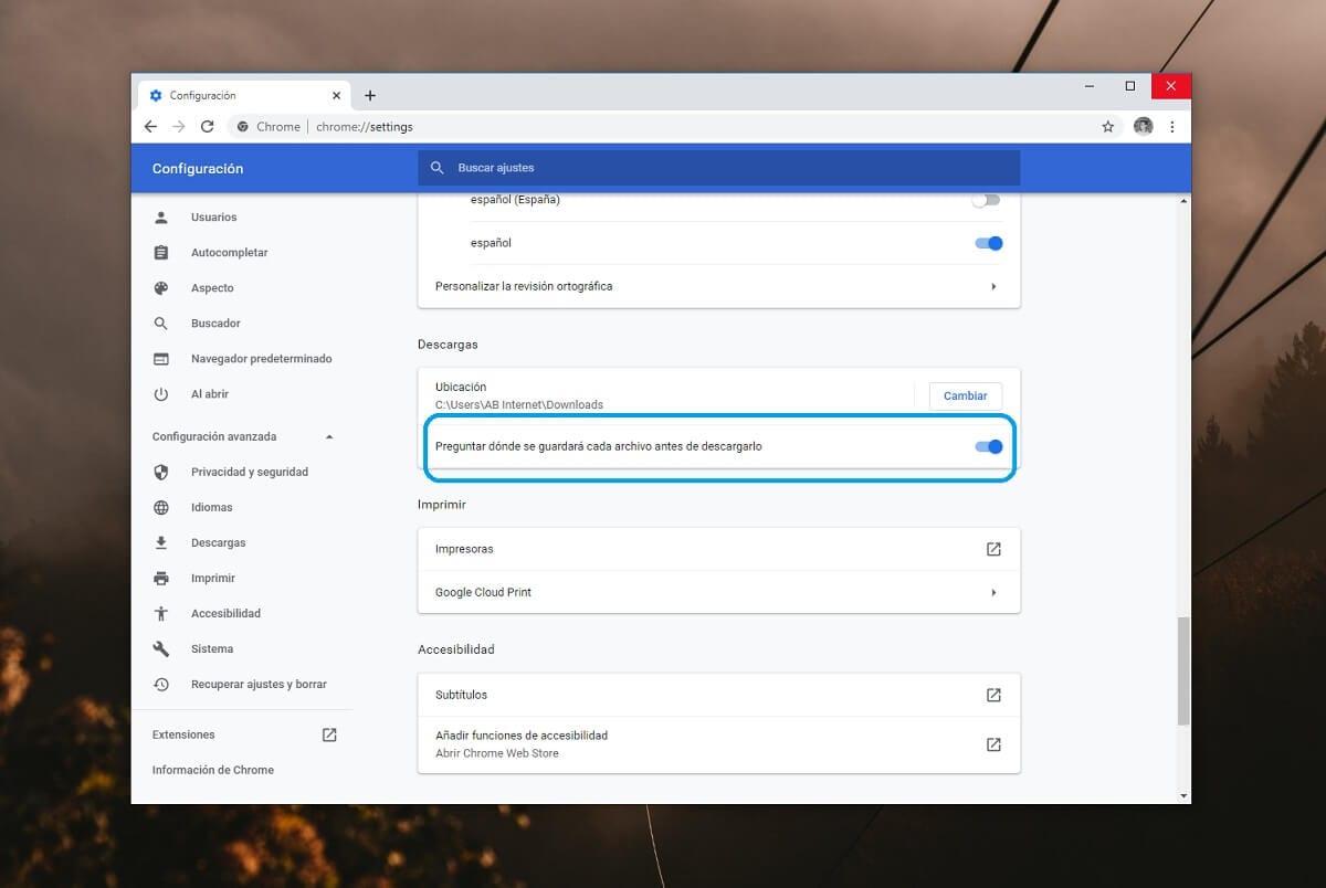 Hacer que Google Chrome pregunte dónde se deben guardar las descargas en Windows