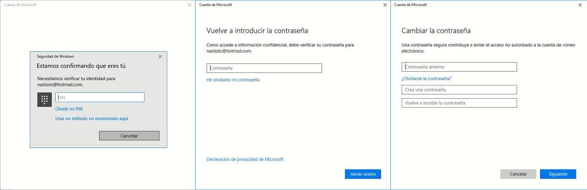 Cambiar la contraseña en Windows 10
