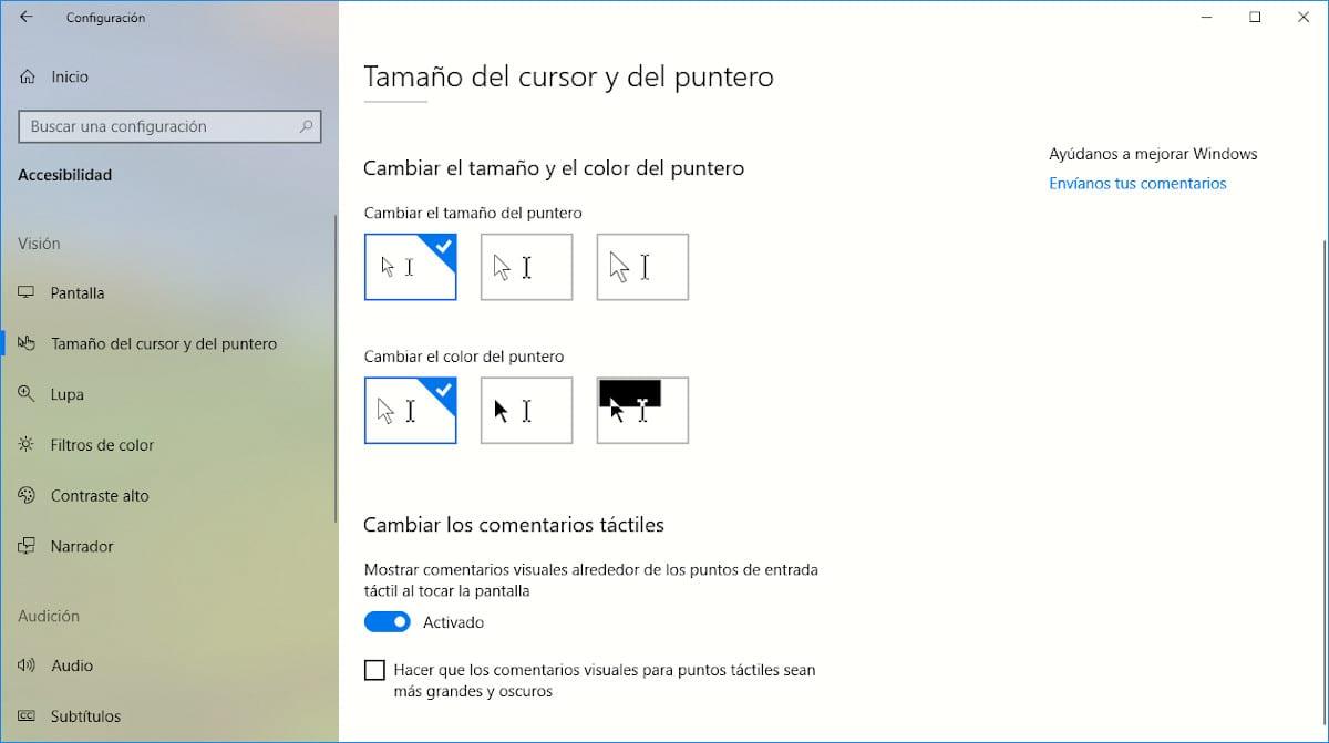 Cambiar forma del puntero en Windows 10
