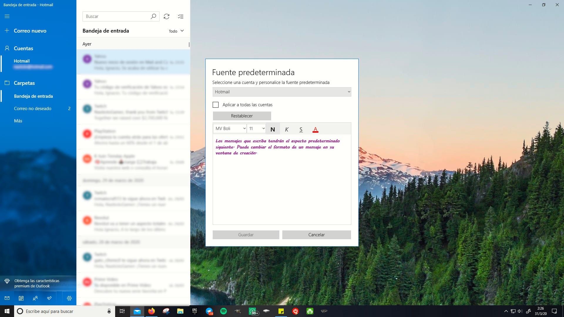 Cambiar fuente predeterminada aplicación Correo Windows 10