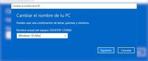 Cambiar nombre equipo Windows 10