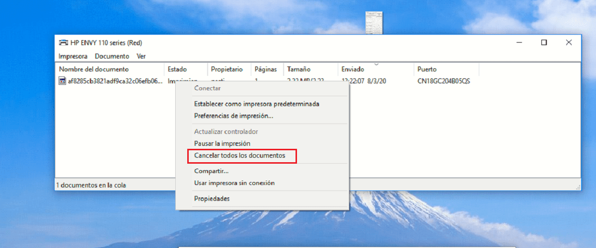 Cancelar impresión documento Windows