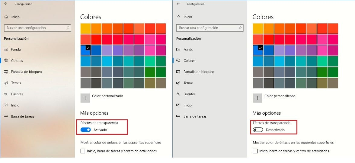 Desactivar efecto transparencia Windows 10