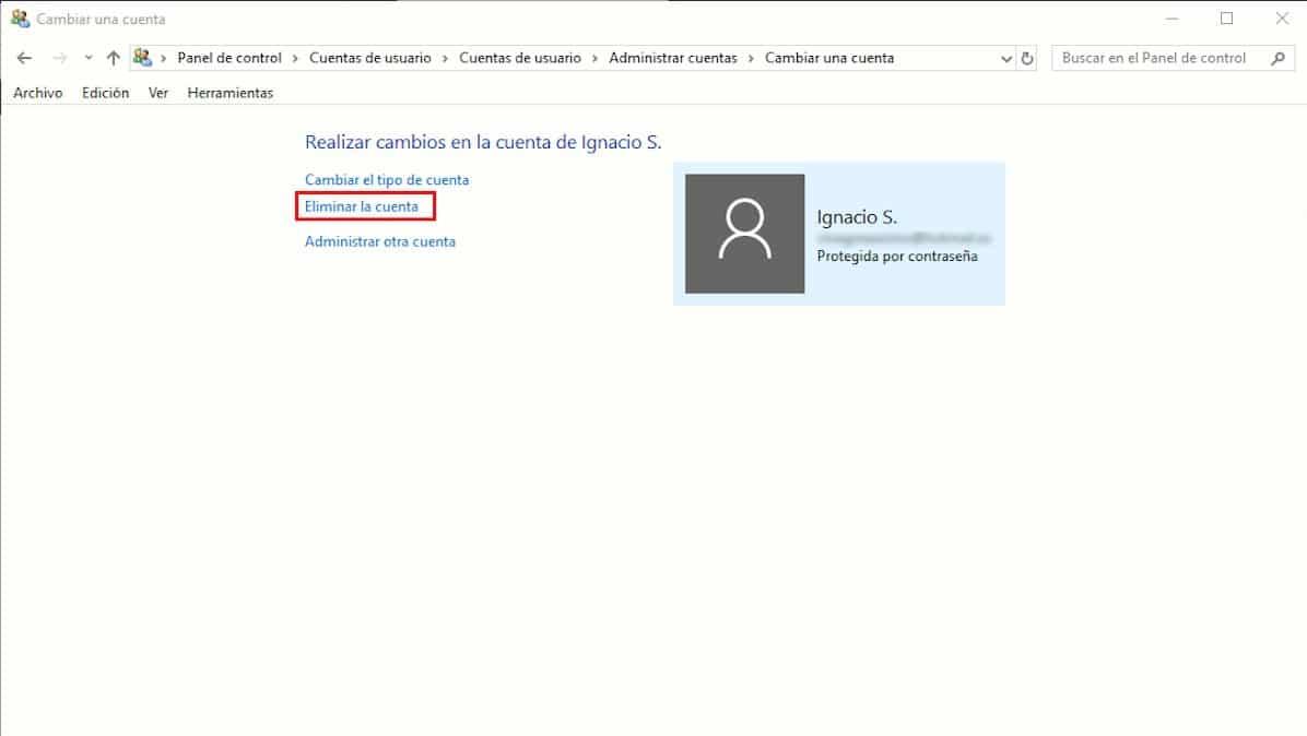 Eliminar cuentas de usuario en Windows 10
