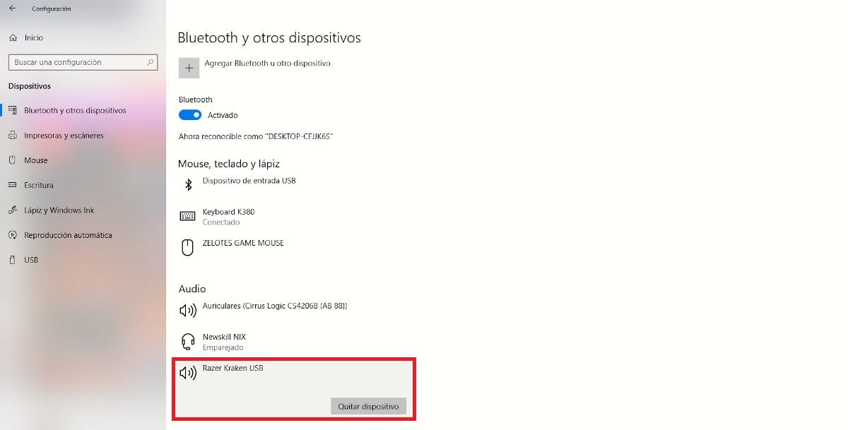 Eliminar dispositivos bluetooth Windows 10