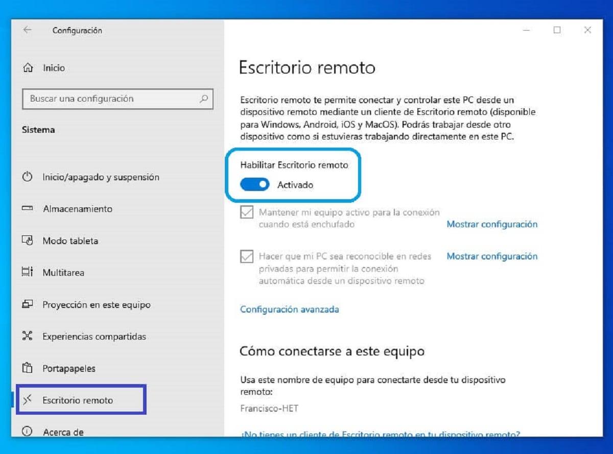 Habilitar conexiones mediante escritorio remoto (RDP) en Windows 10
