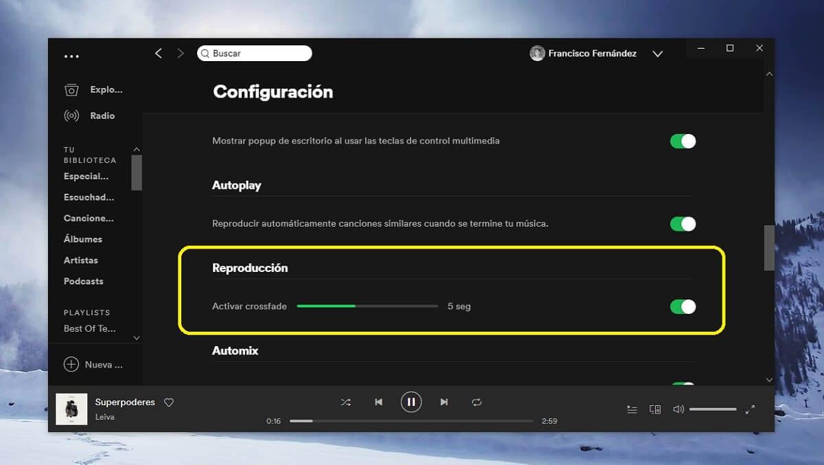 Activar crossfade en Spotify