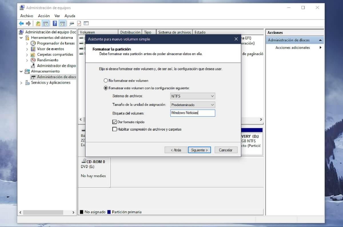Crear y formatear una nueva partición del disco duro en Windows