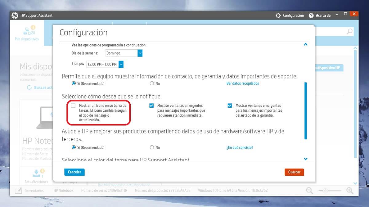 Desactivar el icono en la barra de tareas de HP Support Assistant