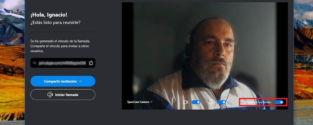 Desenfocar fondo videollamadas Skype