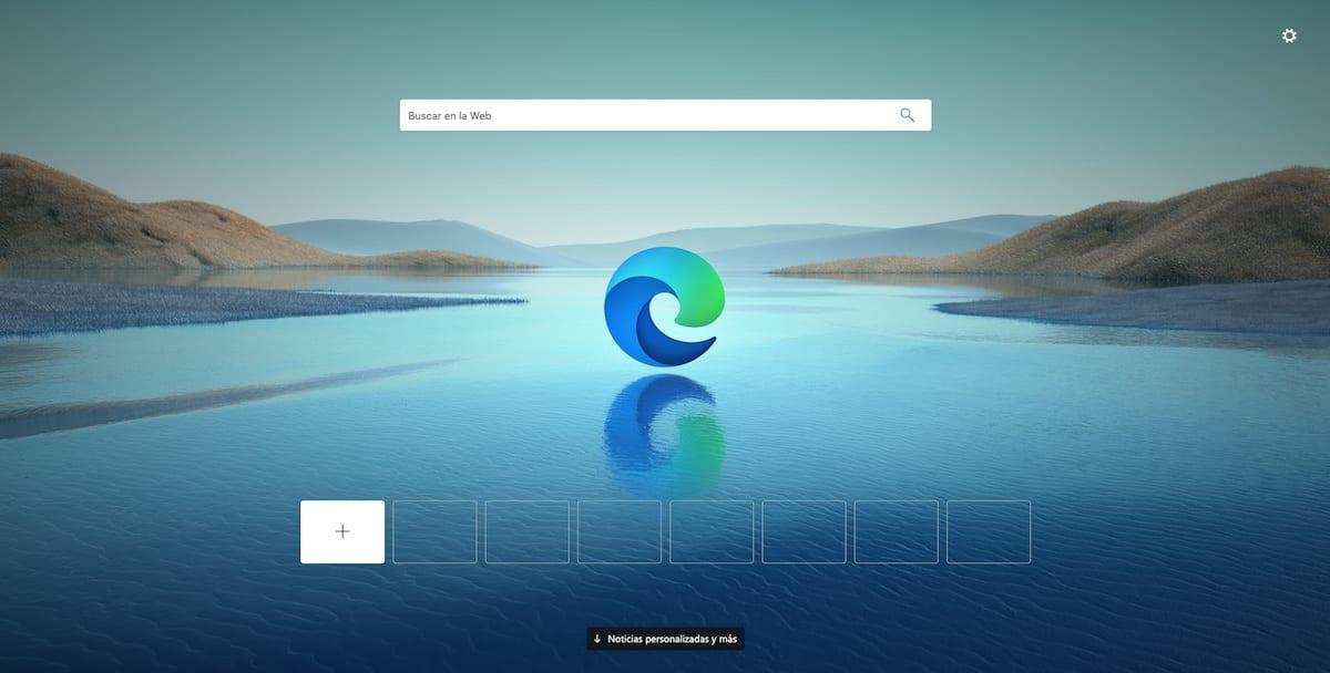 Diseño de página Microsoft Edge