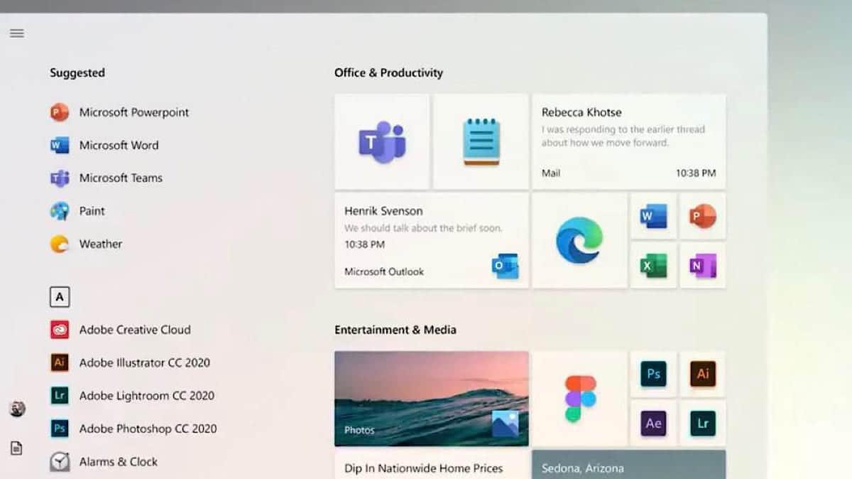Nuevo menú inicio de Windows 10