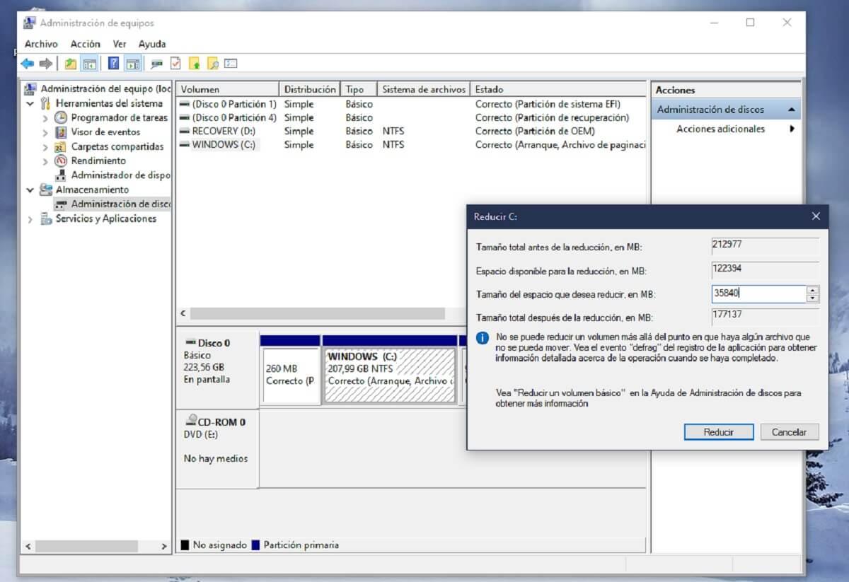 Reducir el tamaño del disco duro en Windows