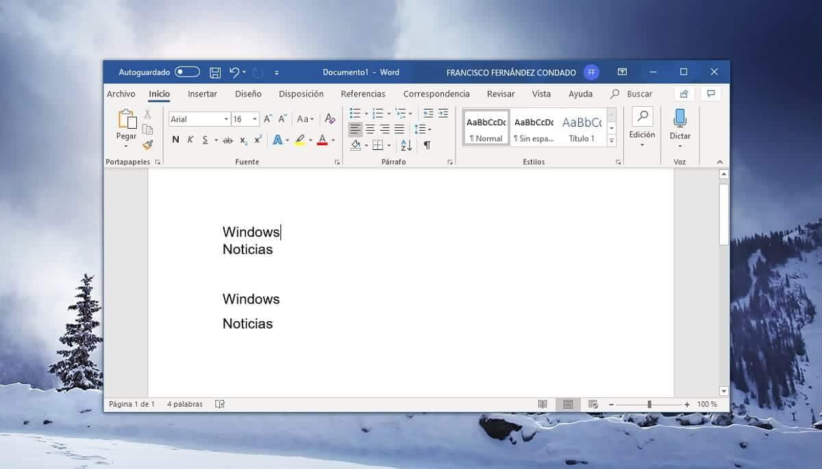 Salto de línea sin cambiar de párrafo en Microsoft Word